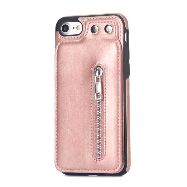 Zipper Leather Wallet Phone Cover