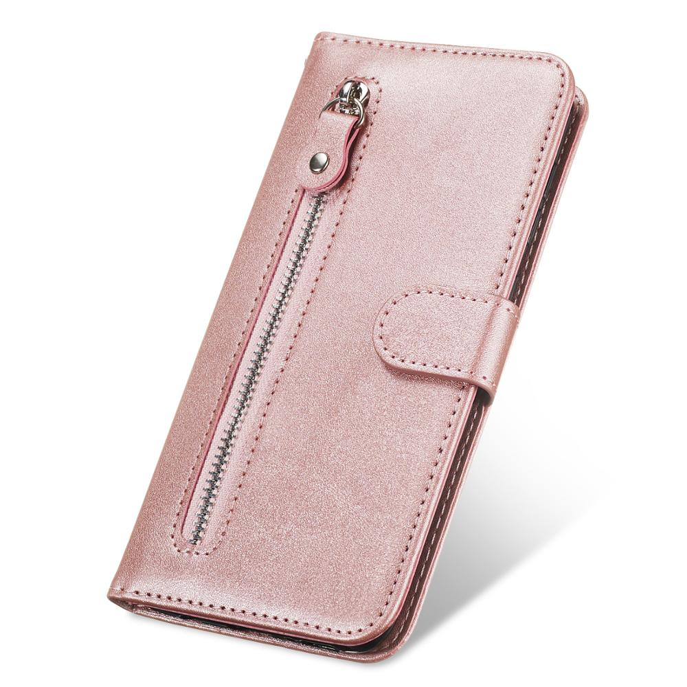 Zipper Leather Wallet Case For iPhone