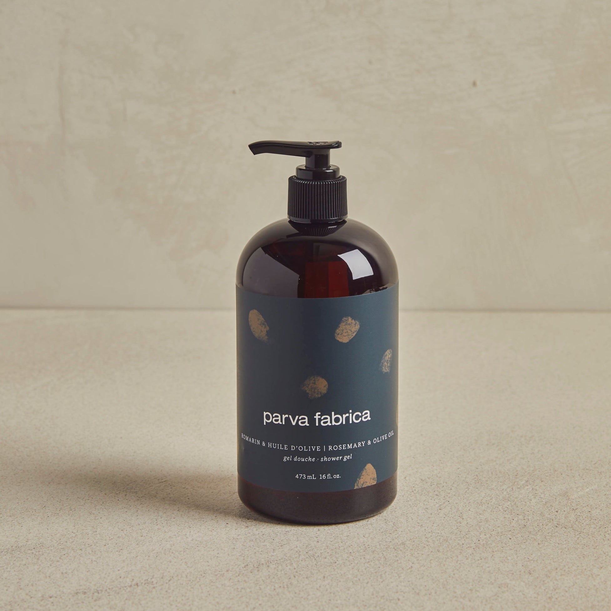 Shower gel bottle with a Navy blue print