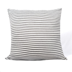 Gray and white striped cushion