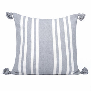 Squared striped gray and white cushion with tassels