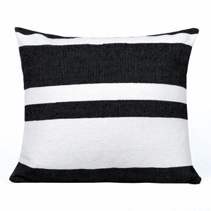 Black and white cushion with stripes