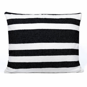 Black and white cushion with tripes