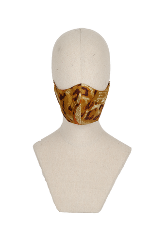 Gold animal print silk blend mask