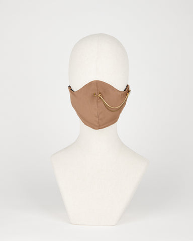 Taupe accessorized silk mask