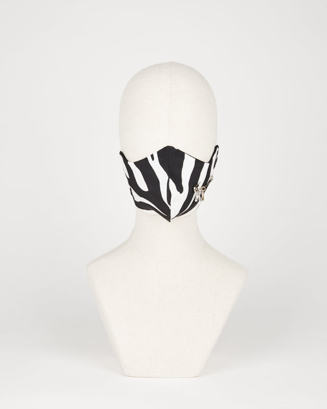 Zebra accessorized silk mask
