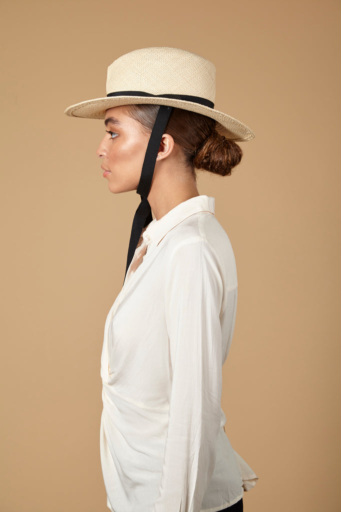 Alice. Handmade Cream Panama Straw Hat with Black Grosgrain. Gladys Tamez Hat Store