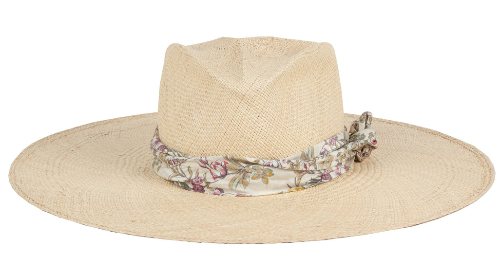 Audrey. Women Panama Straw Hat With Silk Scarf Band.