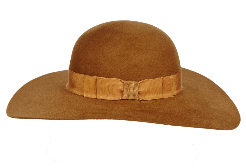 Womens-Hat-with-Felt-Velour-and-Grosgrain-Band-Bardot
