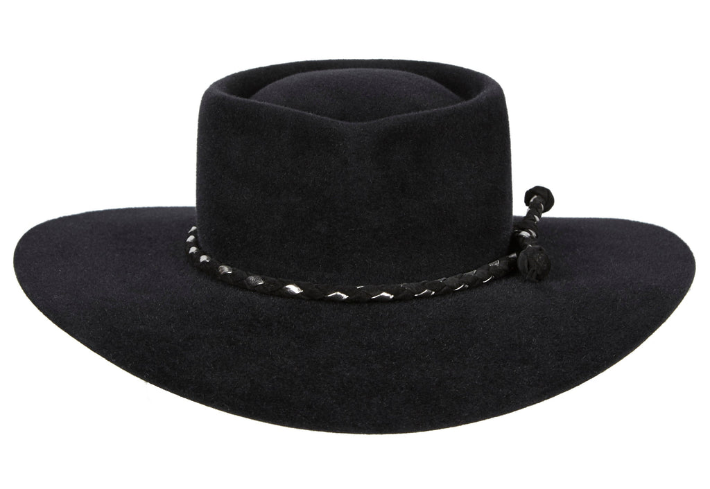 2127a74a52965 Women and Men Handmade Felt Velour Black Hat With Black and Silver Braided  Leather