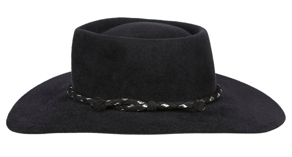 Carly. Women and Men Handmade Felt Velour Black Hat With Black and Silver Braided Leather Band.