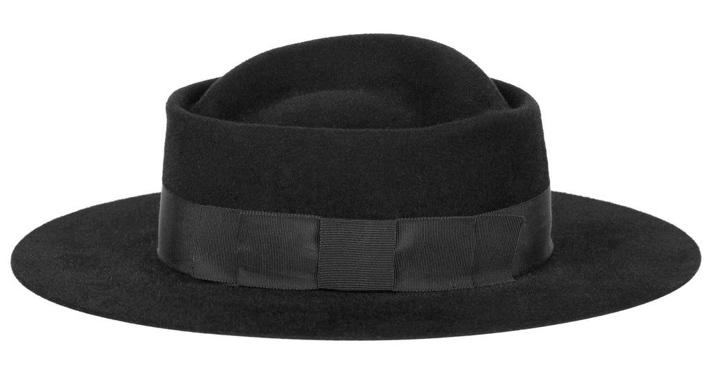 Charlie Felt. Women and Men Handmade Felt Velour Black Hat With Grosgrain Band.