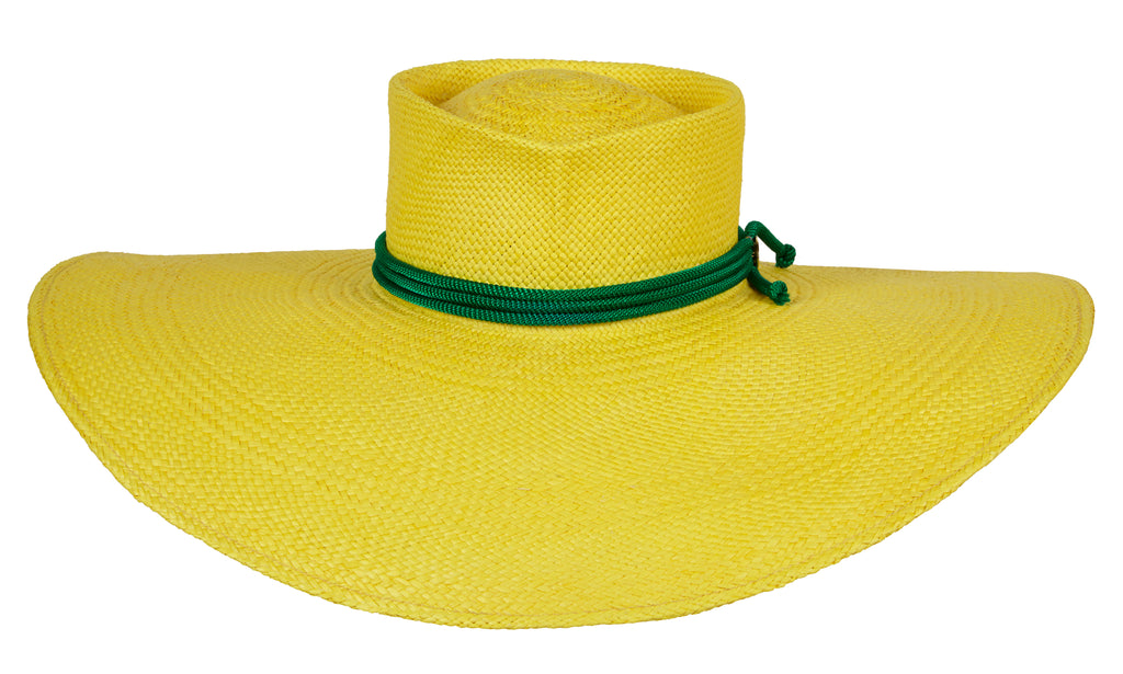 Christy. Women Handmade Panama Straw Yellow Hat With Velvet Band.