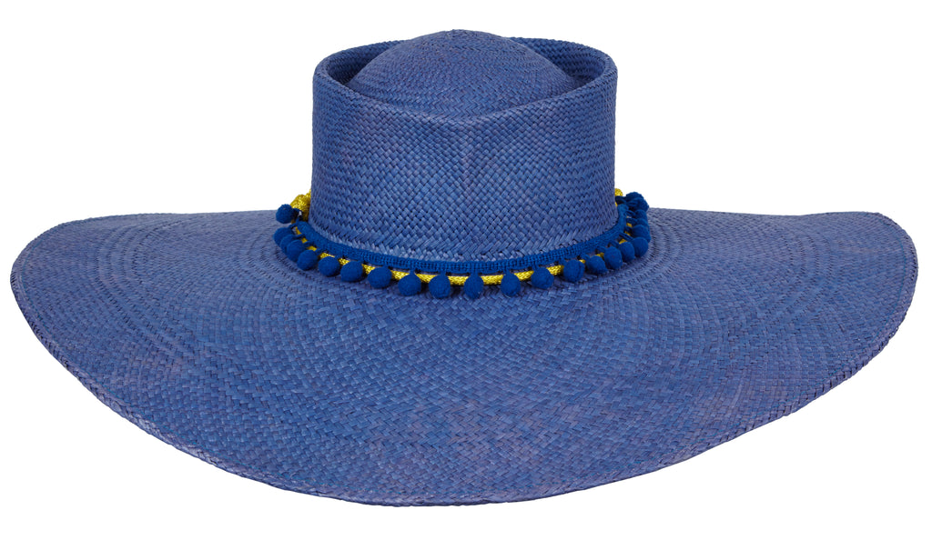 Cindy. Women Handmade Panama Straw Blue Hat With Cotton Rope Band. Wide Brim Hat.