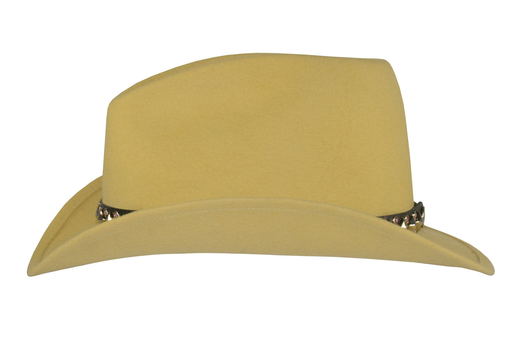 Lady Dandy. Women and Men's Felt Velour Handmade Yellow Hat With Studded Leather Band. Gladys Tamez Hat Store.