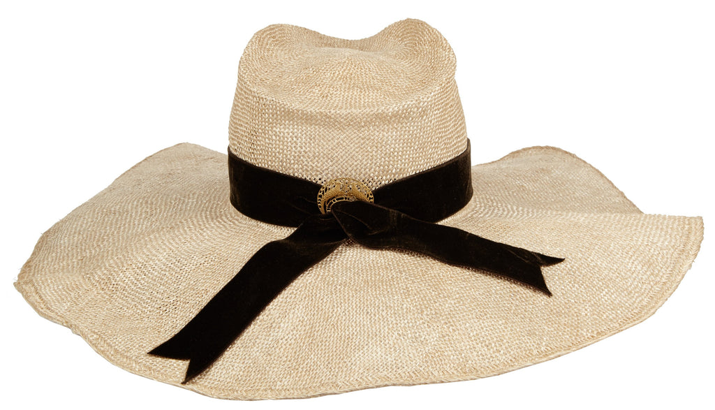 Daniela. Women's Handmade Straw Hat With Black Velvet Band. Sun Hat. Floppy hat