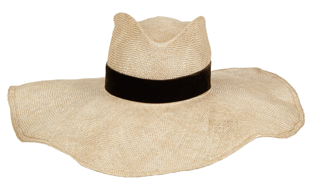 Daniela. Women's Handmade Straw HatWith Black Velvet Band. Sun Hat. Floppy hat