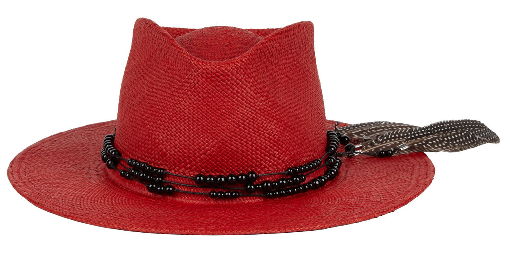 Dean. Women and Men's Handmade Red Panama Straw Hats With Beaded Band and Feathers.