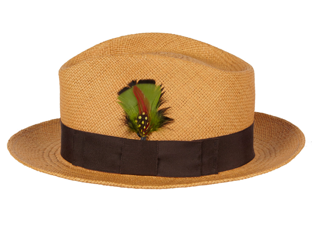 Dillon. Men's Handmade Panama Straw Hat With Grosgrain Band and Feather.
