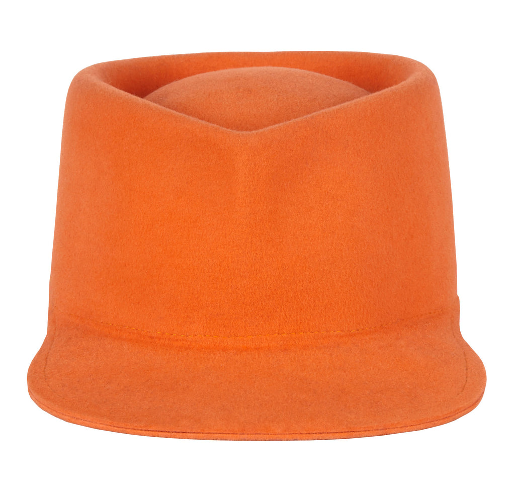 Elite. Women and Men's Handmade Orange Felt Velour Caps. Gladys Tamez Hat Store. Los Angeles.