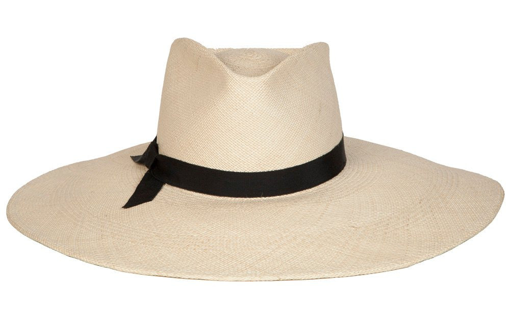 Esthella. Women Handmade Panama Straw Hat With Black Grosgrain Band. Gladys Tamez Hat Store.
