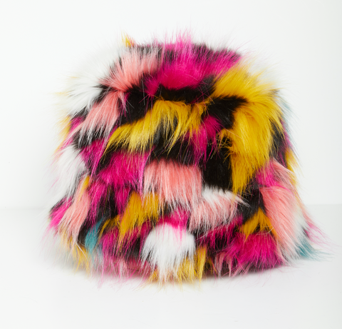 Multicolor fur bucket hat