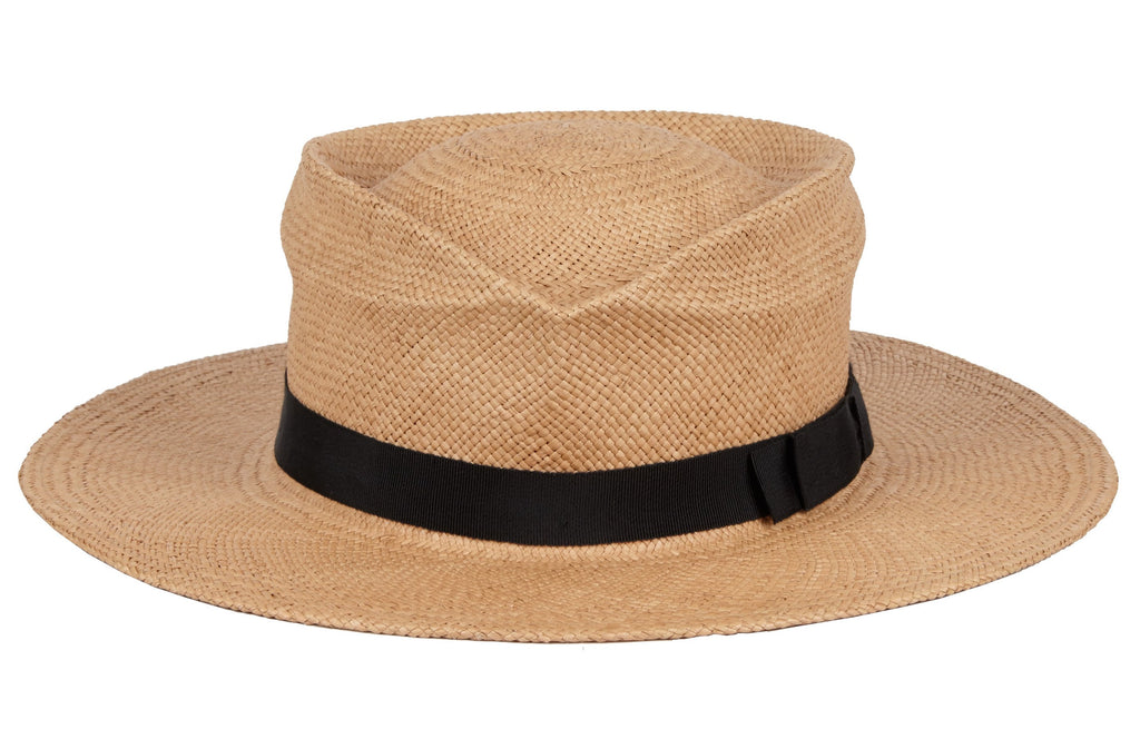 Felix. Women and Men's Handmade Panama Straw Hat With Black Grosgrain Band. Gladys Tamez Hat Store