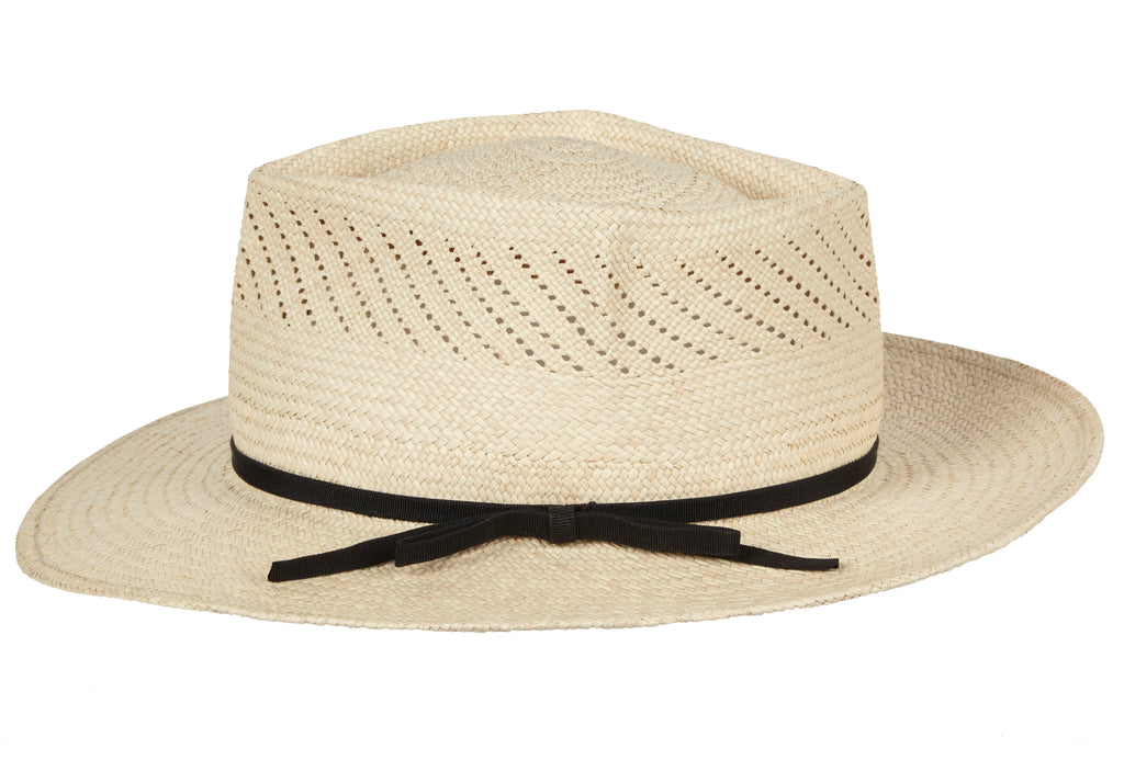 Lewis. Men's Handmade Panama Straw Cream Hats With Black Grosgrain Band. Gladys Tamez Hat Store.