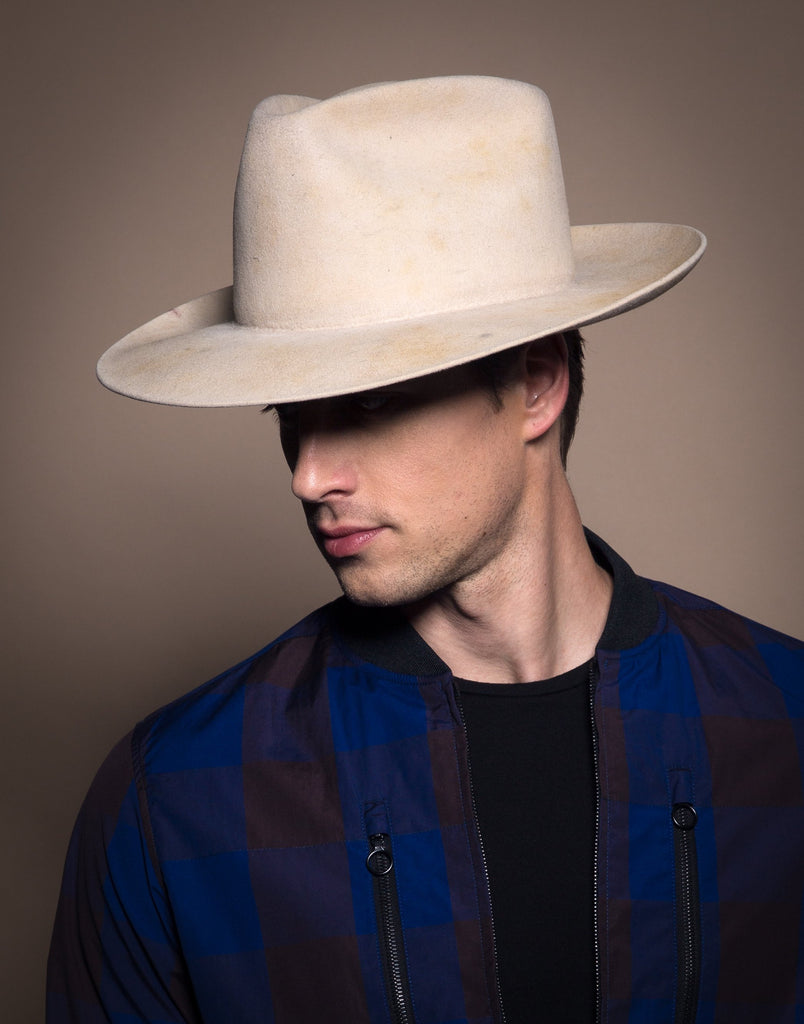 Billy. Women and Men Western Staple Distressed White Handmade Hat