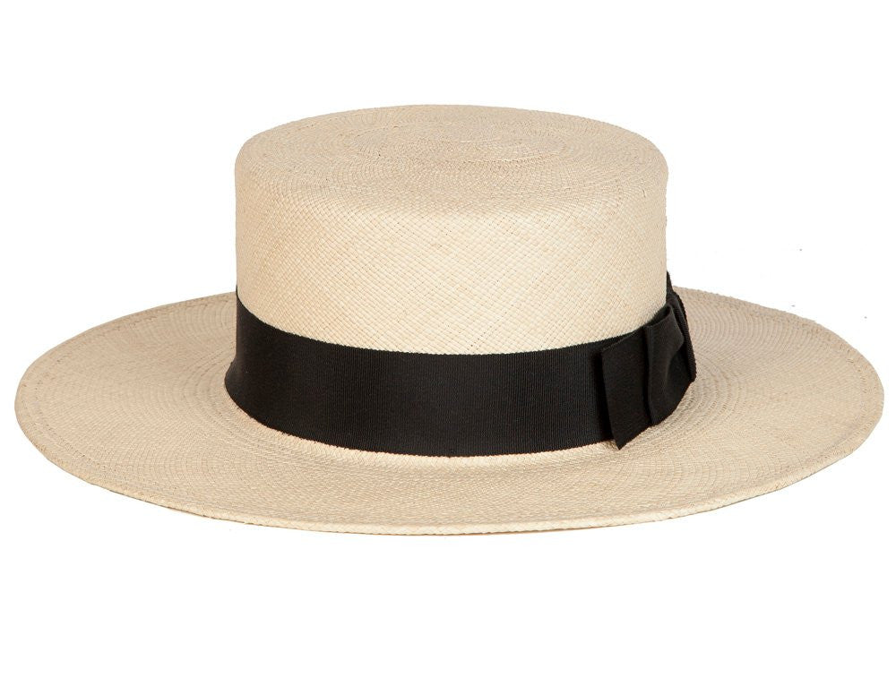 Gloria. Women's Handmade Cream Panama Straw Hat's With Black Grosgrain Band.