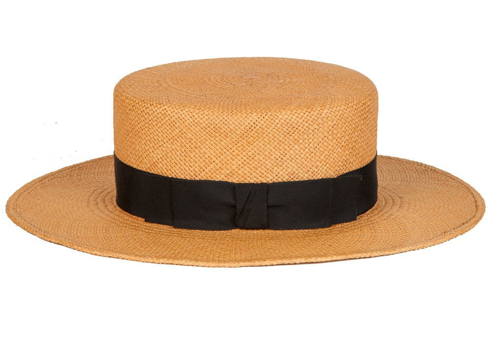 Gloria. Women's Handmade Cafe Panama Straw Hat's With Black Grosgrain Band.