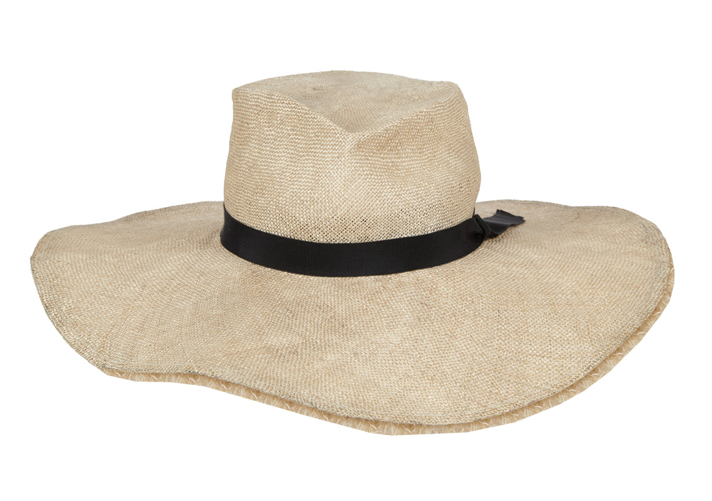 Grace. Women's Handmade Straw Sun Floppy Hats with black grosgrain band. Gladys Tamez Millinery Hat Store Los Angeles.