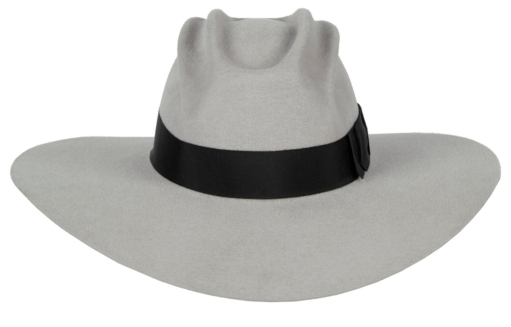 Hanna Baby. Women's Handmade Gray Felt Velour Hats With Sculptural Crown And Grosgrain Band. Gladys Tamez Hat Store.
