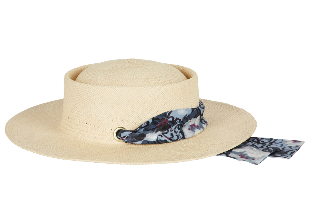 Helena. Women's Handmade Panama Straw Sun Hats with silk band. Gladys Tamez Hat Store Los Angeles