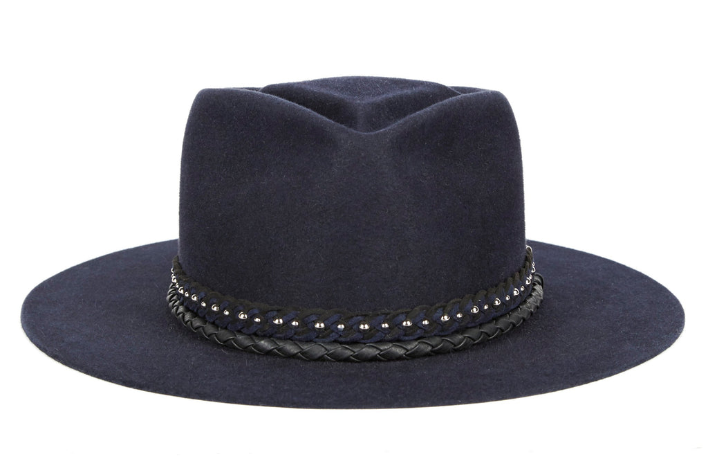Jagger. Women and Men's Blue Dress Staple Hat With Studded Suede Braided Band and small Rounder Leather Band. Gladys Tamez Hat Store.