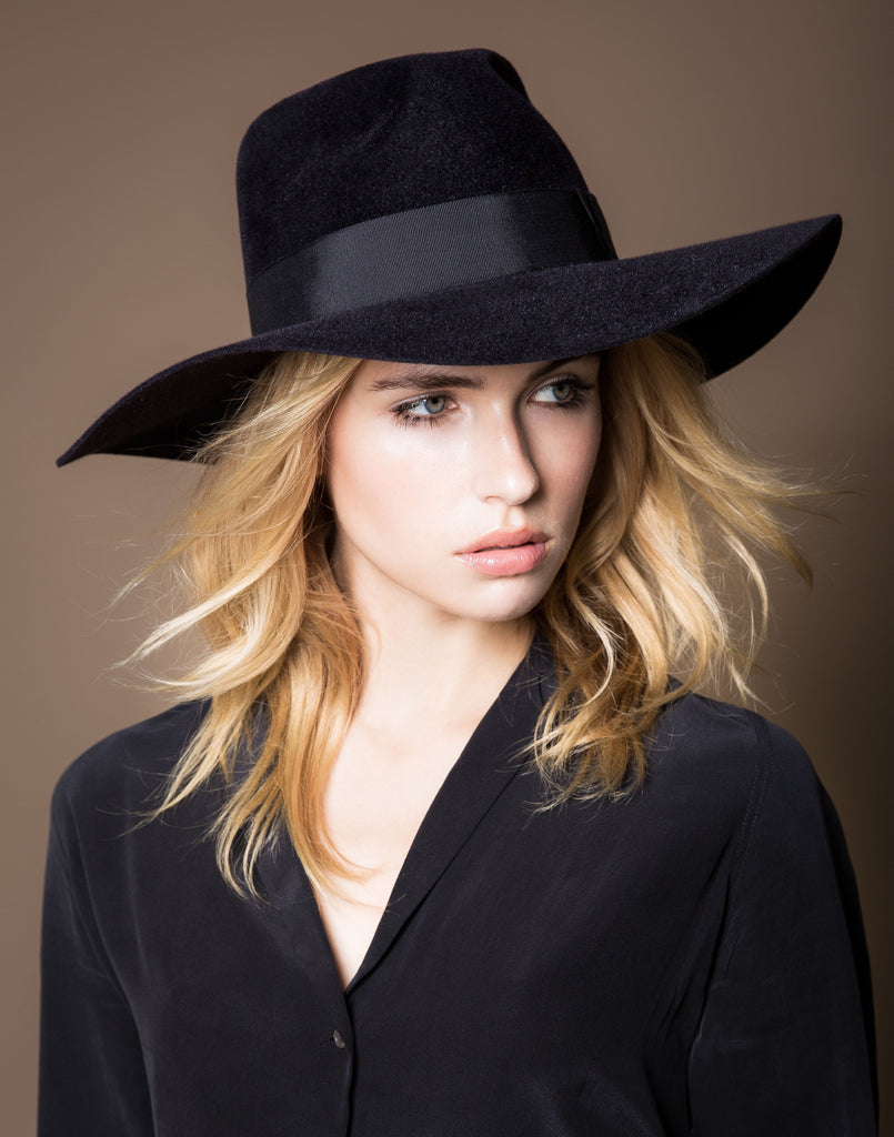 Jamie. Women and Men's Handmade Felt Velour Hats With Grosgrain Band. Gladys Tamez Hat Store.