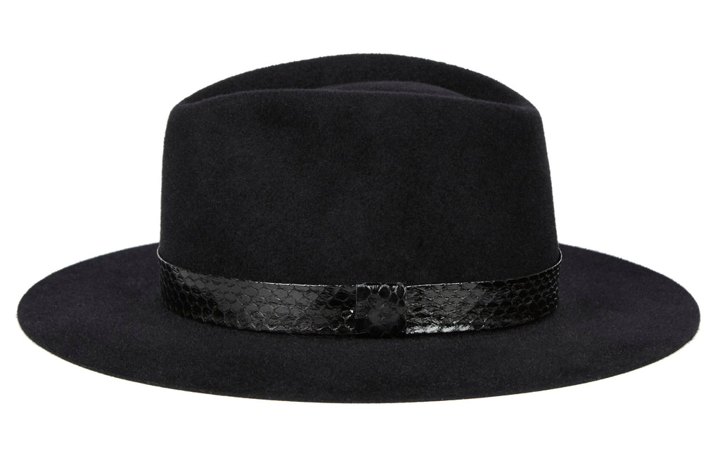 Karina. Women and Men's Handmade Felt Velour Black Hats With Grosgrain Band. Gladys Tamez Hat Store.