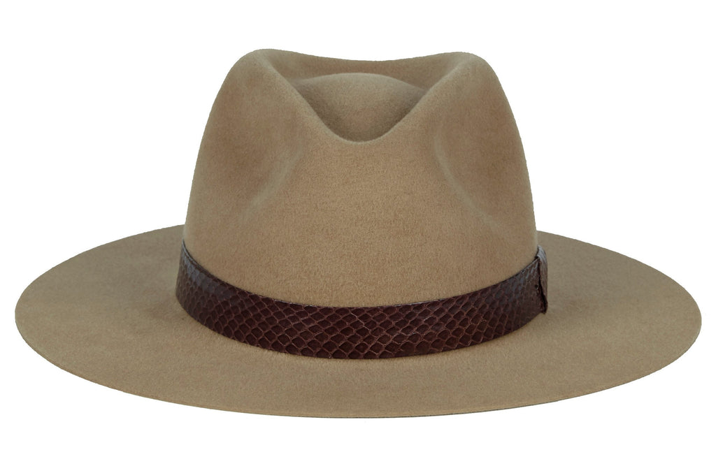 Karina. Women and Men's Handmade Felt Velour Camel Hats With Grosgrain Band. Gladys Tamez Hat Store.