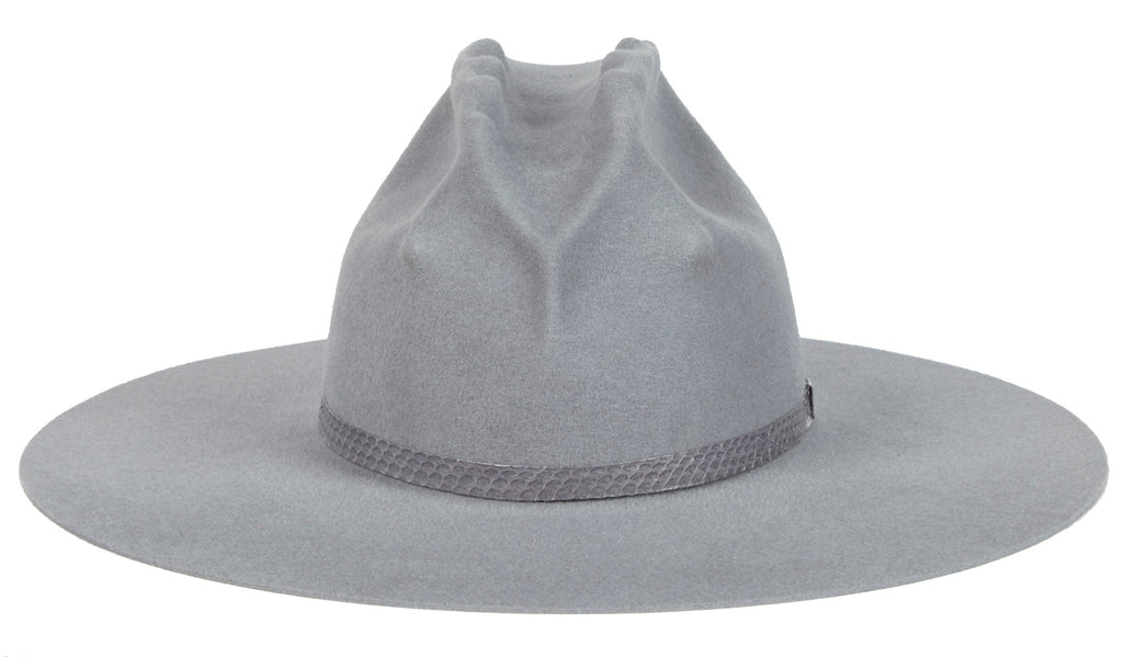 1f80e1c5ab458 Lady Gaga Western Hat. Women and Men s Handmade Felt Velour Grey Hats With Snakeskin  Band