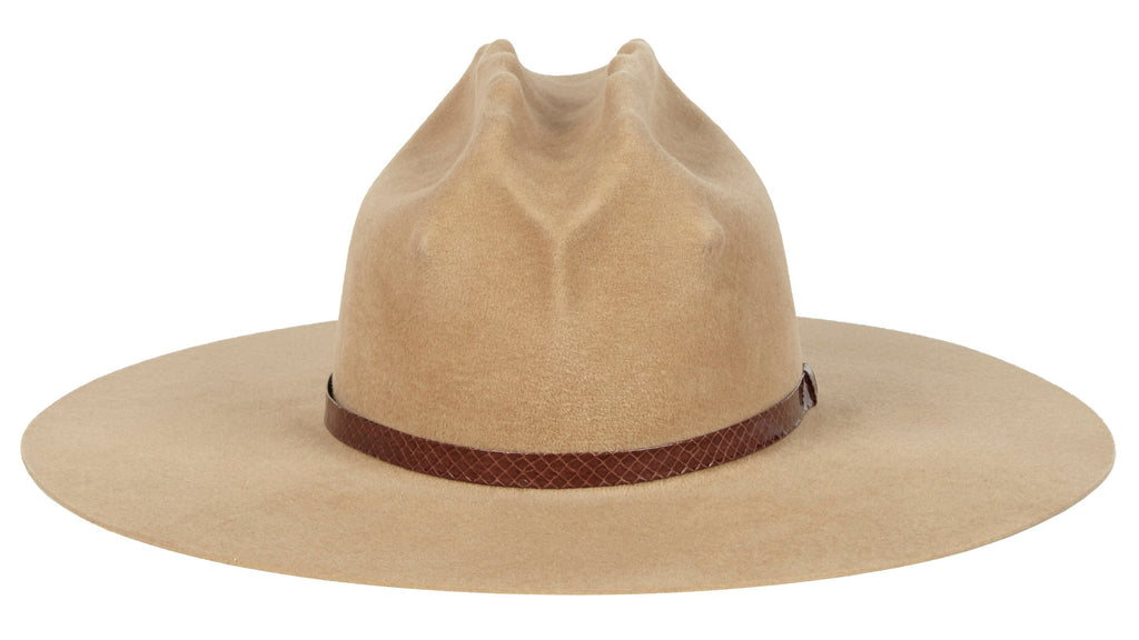 Lady Gaga Western Hat. Women and Men's Handmade Felt Velour Camel Hats With Snakeskin Band. Gladys Tamez Hat Store.