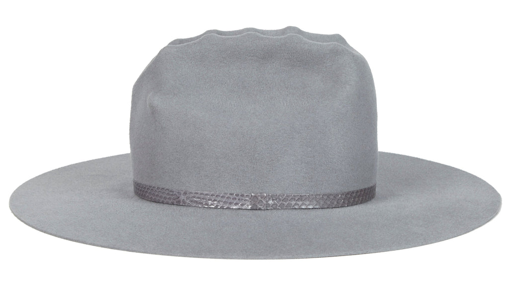 Lady Gaga Western Hat. Women and Men's Handmade Felt Velour Grey Hats With Snakeskin Band. Gladys Tamez Hat Store.