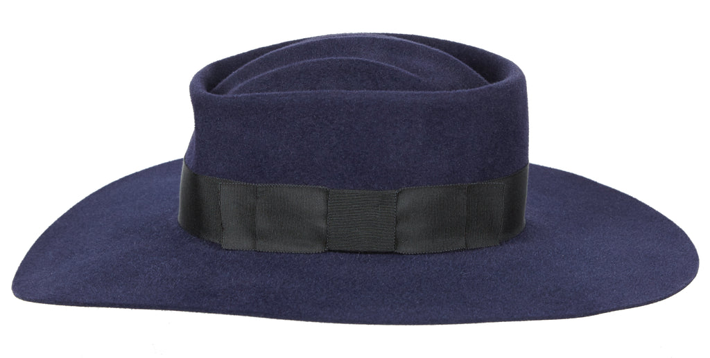 Lauren. Women and Men's Felt Velour Handmade Hats with Black Grosgrain Band. Hat Sale. Gladys Tamez Hat Store.