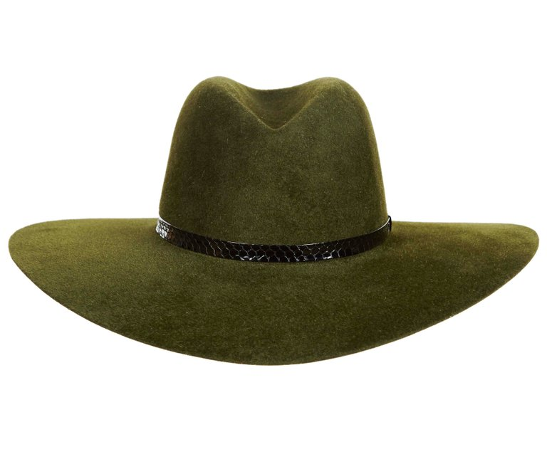Marianne. Women and Men's Handmade Felt Velour Green Hat with Snakeskin Band. Gladys Tamez Hat Store.