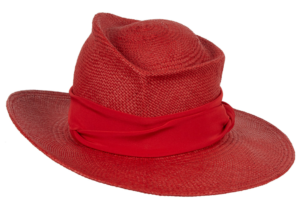 Moss. Women and men's Handmade Panama Straw Red Hat With Silk band. Gladys Tamez Hat Store.