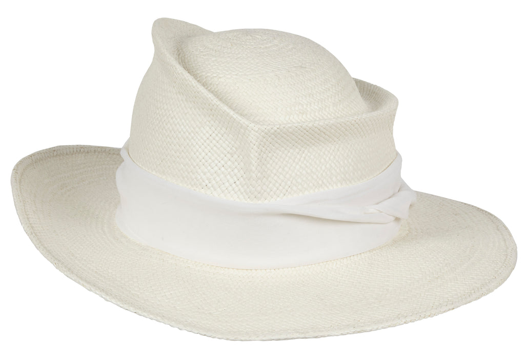 Moss. Women's Handmade Panama Straw White Hat With Silk band. Gladys Tamez Hat Store.