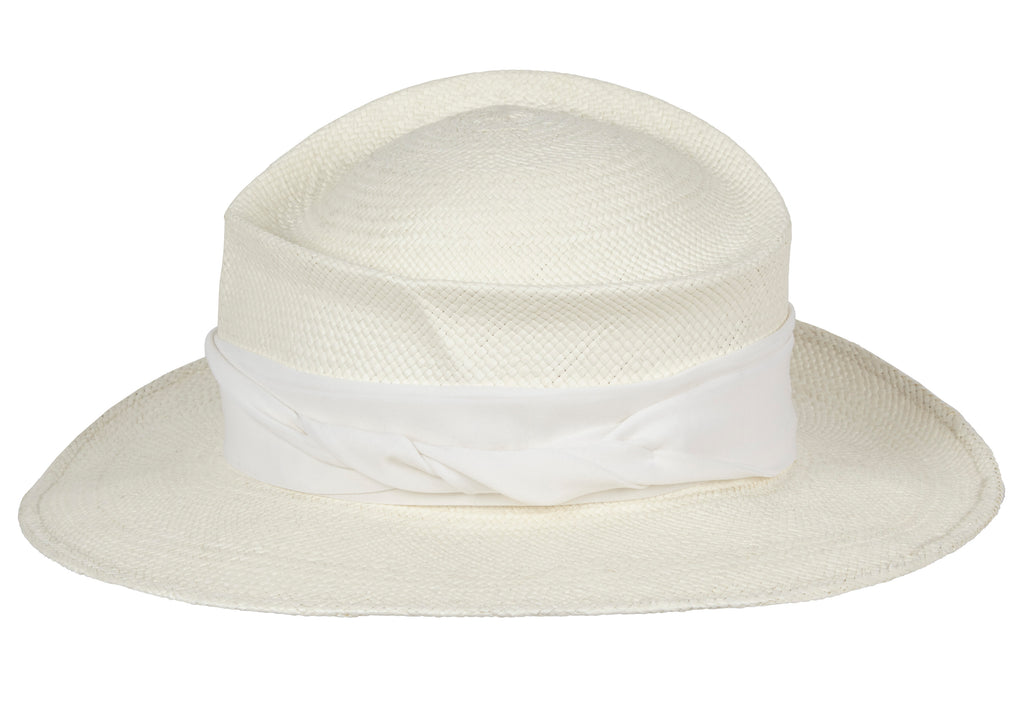 Moss. Women and men's Handmade Panama Straw White Hat With Silk band. Gladys Tamez Hat Store.