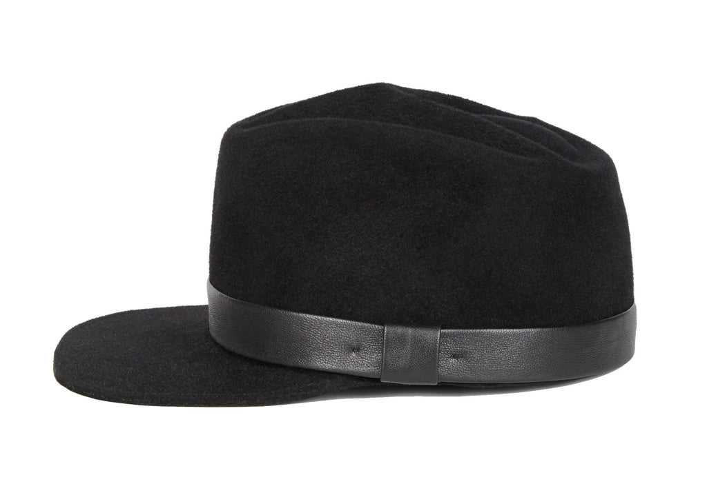 Double Agent. Women and Men's Handmade Black Felt Velour Caps. Gladys Tamez Hat Store.