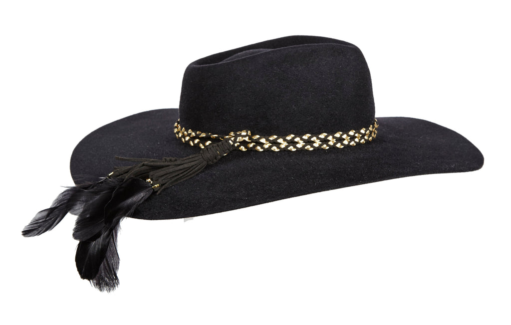 Pallenberg. Women and Men's Black Handmade Felt Velour Hat with braided leather band and feathers. Gladys Tamez Hat Store.