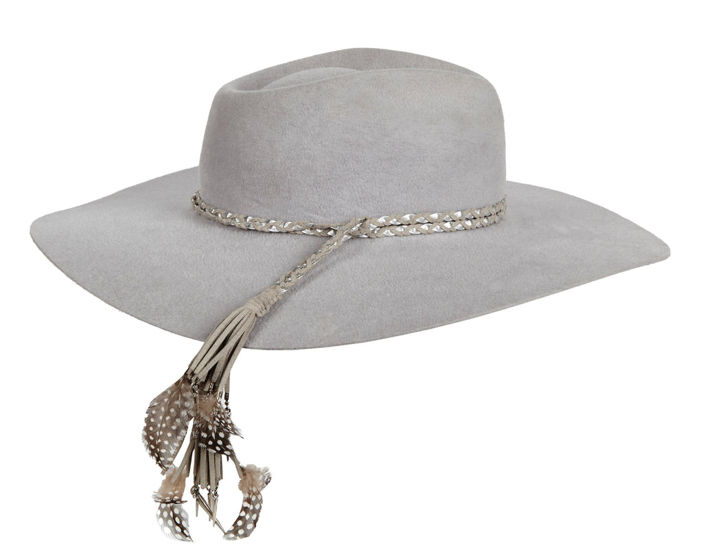 Pallenberg. Women and Men's Grey Handmade Felt Velour Hat with braided leather band and feathers. Gladys Tamez Hat Store.