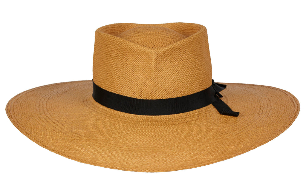 Paloma. Women and Men's Handmade Panama Straw Cafe Hat with black grosgrain band. Gladys Tamez Hat Store.